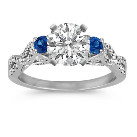 Round Traditional Sapphire and Round Diamond Cathedral Engagement Ring