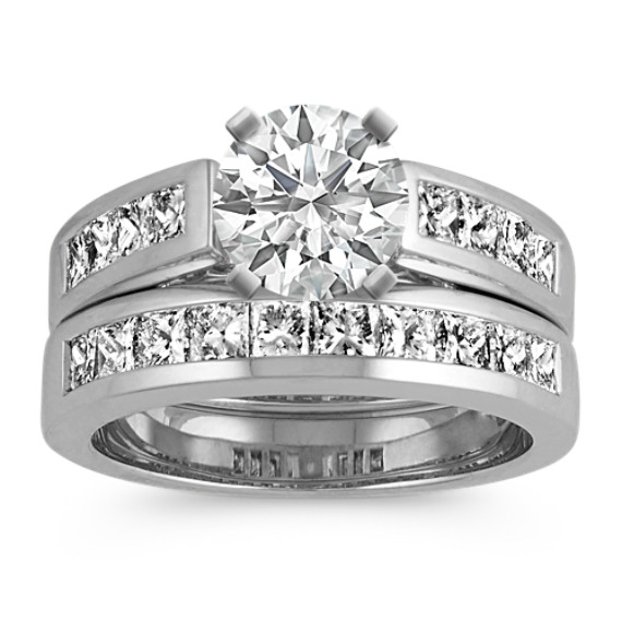 Classic Channel-Set Princess Cut Diamond Wedding Set