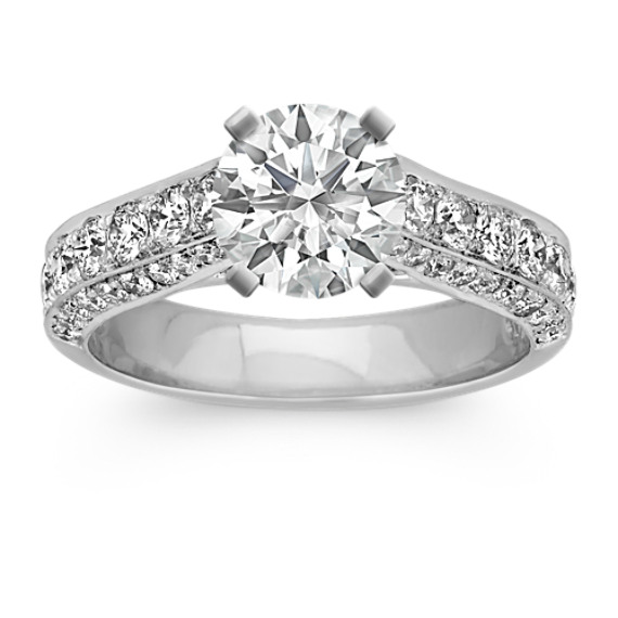 Round Diamond Platinum Cathedral Engagement Ring with Pave-Setting