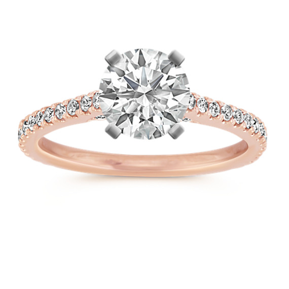 Pave-Set Round Diamond Engagement Ring in 14k Rose Gold