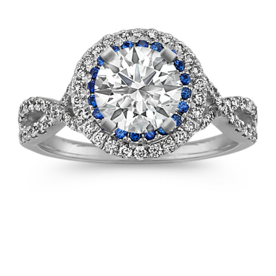 Traditional Sapphire and Round Diamond Halo Infinity Engagement Ring