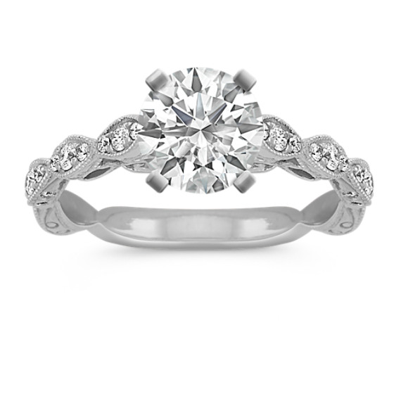 Vintage Engraved Round Diamond Engagement Ring in 14k White Gold