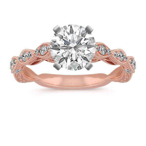 Vintage Engraved Diamond Engagement Ring in 14k Rose Gold