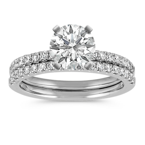 Classic Round Diamond Platinum Wedding Set with Pave-Setting