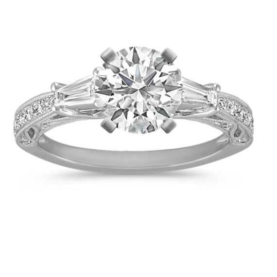 Round and Baguette Diamond Vintage Engagement Ring