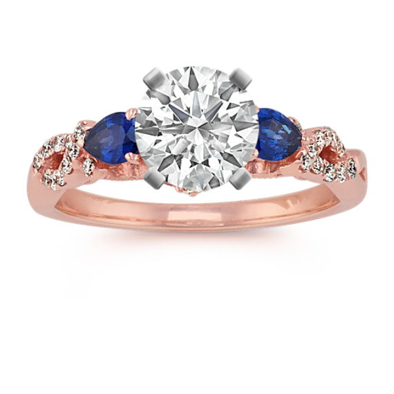 Pear-Shaped Traditional Sapphire and Round Diamond Engagement Ring