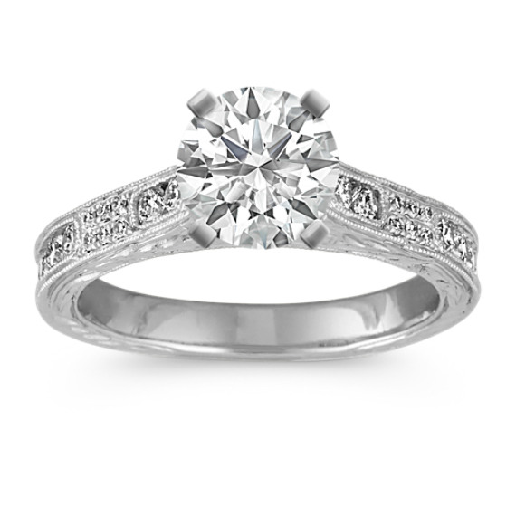 Vintage Channel and Pave-Set Round Diamond Cathedral Engagement Ring