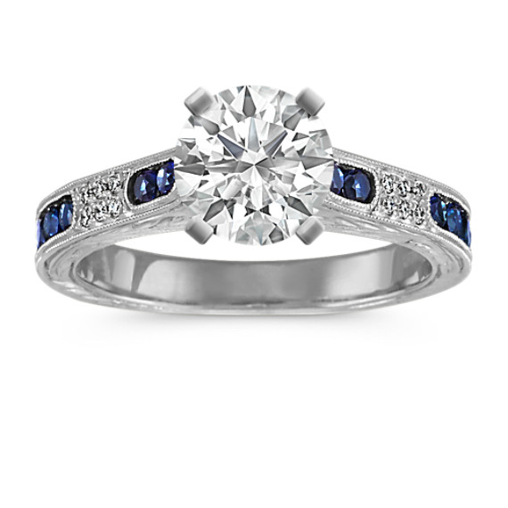 Vintage Round Diamond and Traditional Sapphire Cathedral Engagement Ring