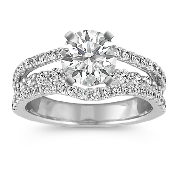 Triple Band Pave-Set Round Diamond Engagement Ring