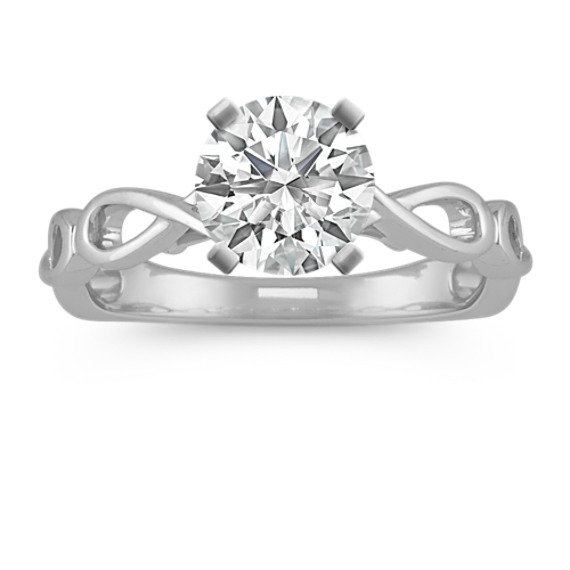 14k White Gold Infinity Engagement Ring with Diamond Accent