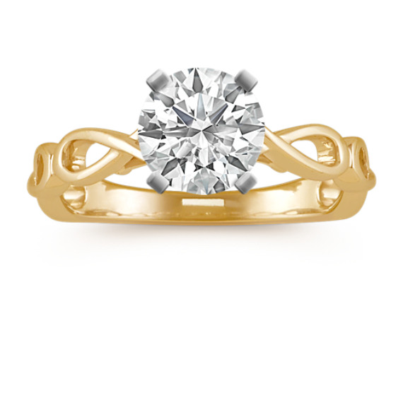 14k Yellow Gold Infinity Engagement Ring with Diamond Accent