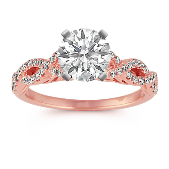 14k Rose Gold Infinity Diamond Engagement Ring
