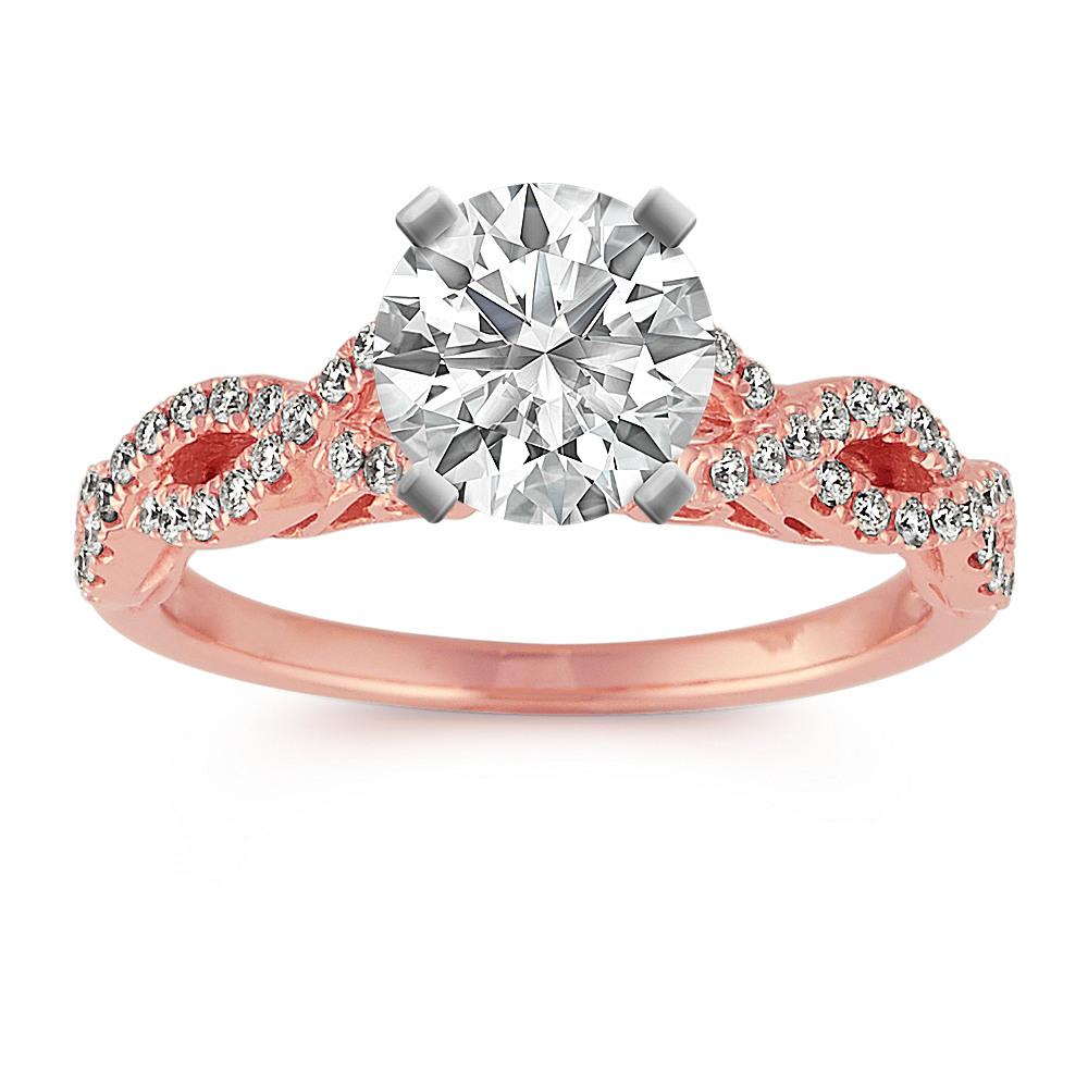 14k Rose Gold Infinity Diamond Engagement Ring Shane Co