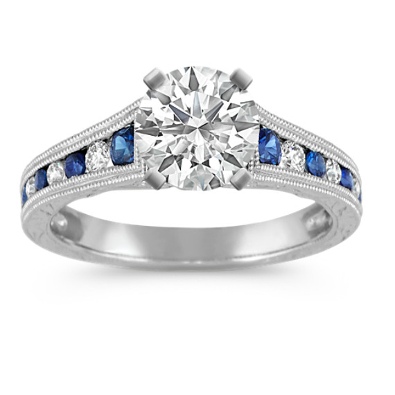 Round Traditional Sapphire and Diamond Vintage Engagement Ring