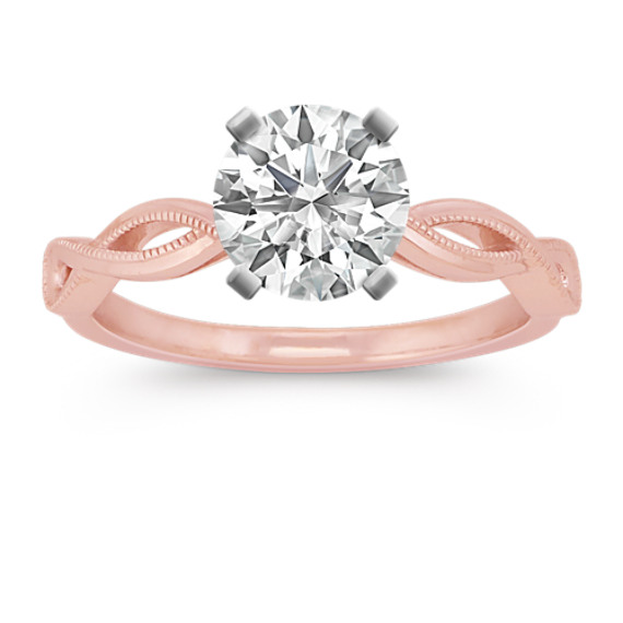 14k Rose Gold Infinity Swirl Engagement Ring with Milgrain Detailing