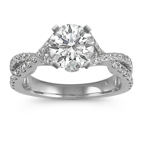 Round Diamond Platinum Cathedral Engagement Ring with Pave Setting