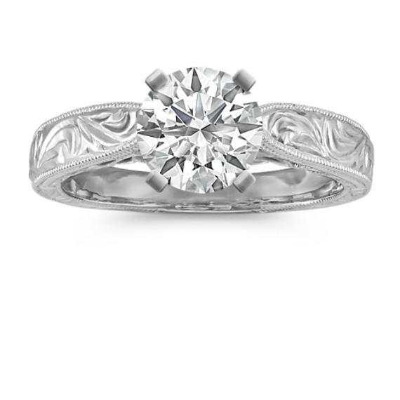 Platinum Hand Engraved Cathedral Engagement Ring