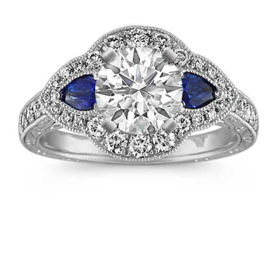 Pear-Shaped Traditional Sapphire and Round Diamond Platinum Engagement Ring