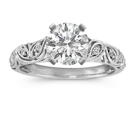 Vintage Platinum Round Diamond Engagement Ring