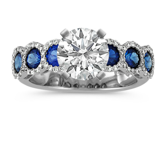 Round Traditional Sapphire and Diamond Engagement Ring