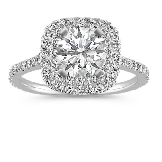 Round Diamond Double Halo Engagement Ring with Pave-Setting