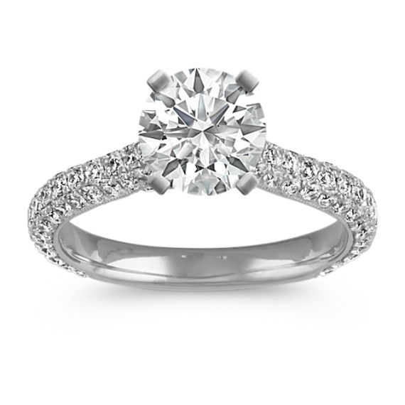 Classic Pave-Set Round Diamond Cathedral Engagement Ring