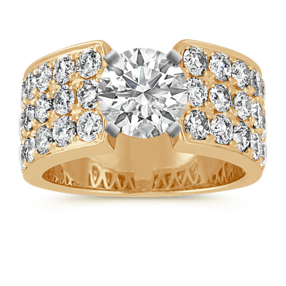 Pave-Set Round Diamond Engagement Ring in 14k Yellow Gold