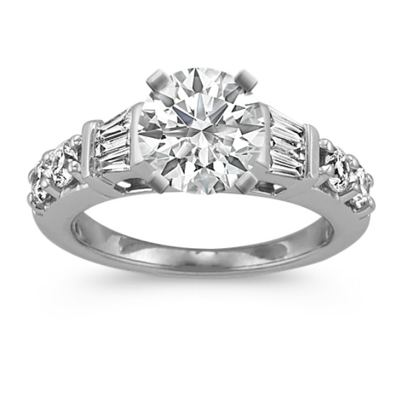 Classic Cathedral Diamond Engagement Ring with Baguette and Round Diamonds