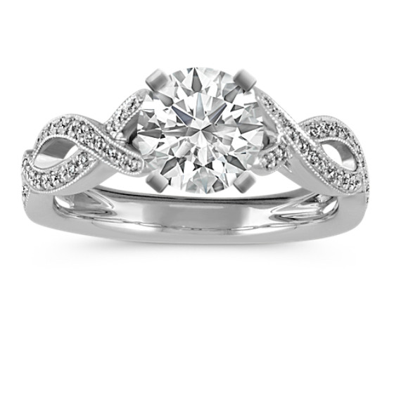Infinity Cathedral Diamond Engagement Ring with Milgrain Detailing