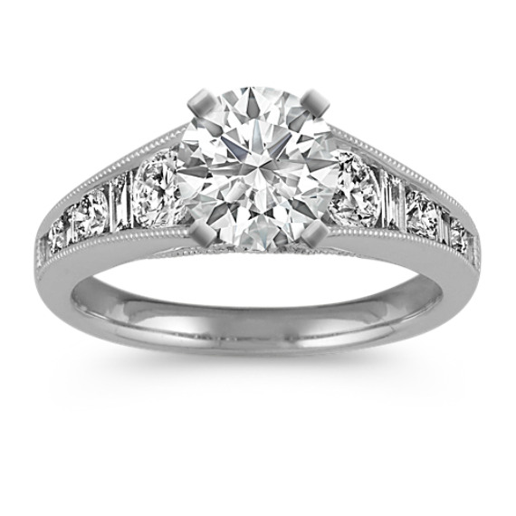 Round and Baguette Diamond Vintage Classic Engagement Ring