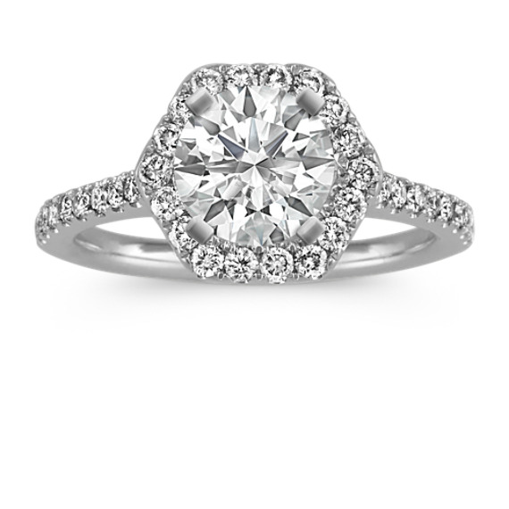 Round Diamond Hexagon Halo Engagement Ring in 14k White Gold