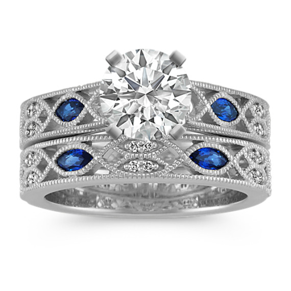 Marquise and Round Sapphire and Round Diamond Vintage Platinum Wedding Set