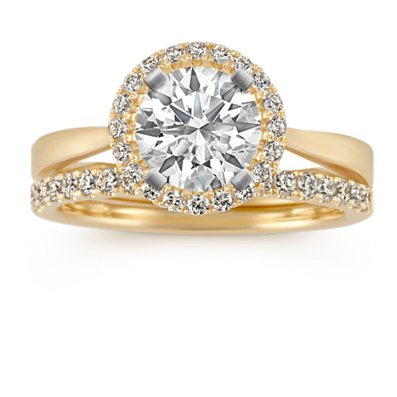 Halo Round Diamond Vintage Wedding Set with Pave Setting
