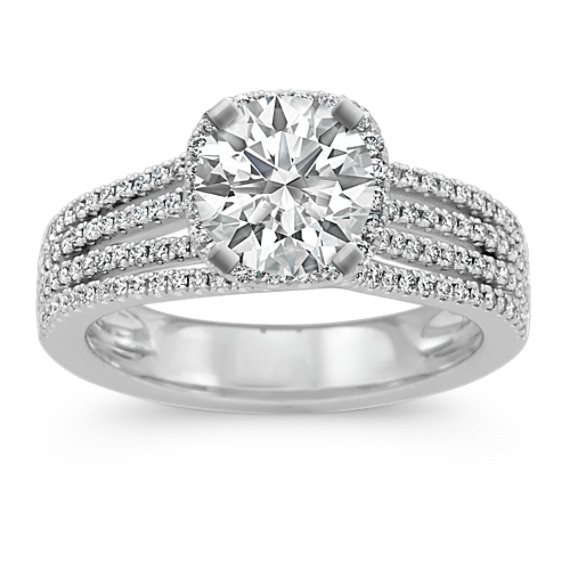 Round Diamond Cushion Halo Engagement Ring in 14k White Gold