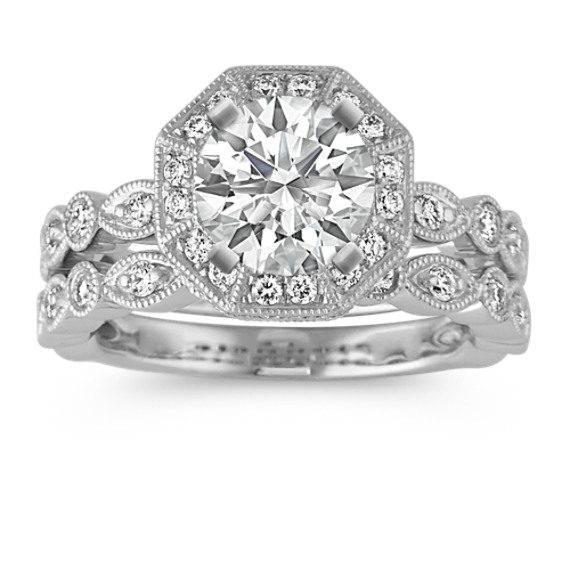 Round Diamond Vintage Wedding Set in Platinum