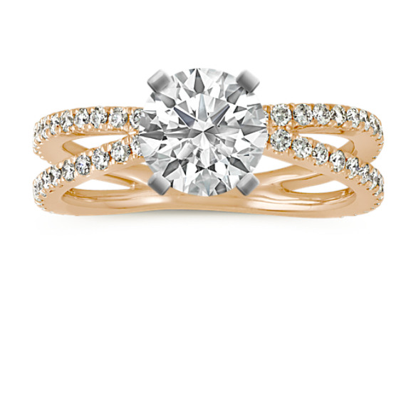 Pave-Set Diamond Split Shank Engagement Ring in 14k Yellow Gold