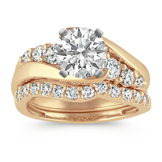 Swirl Diamond Wedding Set in 14k Yellow Gold