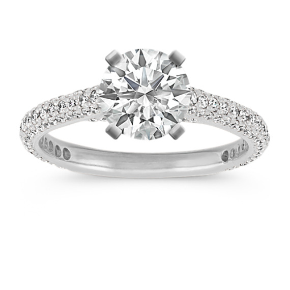 14k White Gold Pave-Set Round Diamond Cathedral Engagement Ring