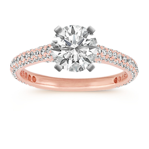 14k Rose Gold Pave-Set Round Diamond Cathedral Engagement Ring