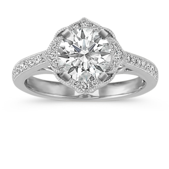 Vintage Floral Halo Diamond Engagement Ring in Platinum