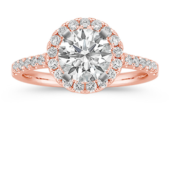 Round Diamond Halo Engagement Ring in 14k Rose Gold