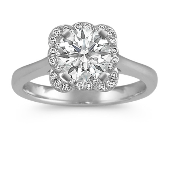 Petal Halo Diamond Engagement Ring in 14k White Gold