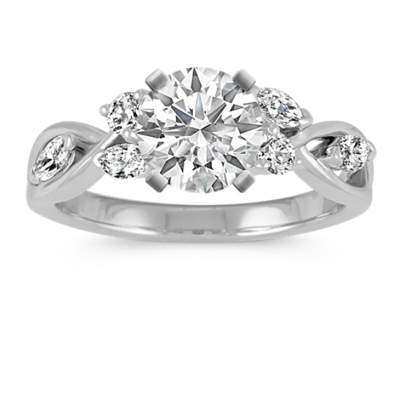 Marquise and Round Diamond Swirl Engagement Ring in 14k White Gold