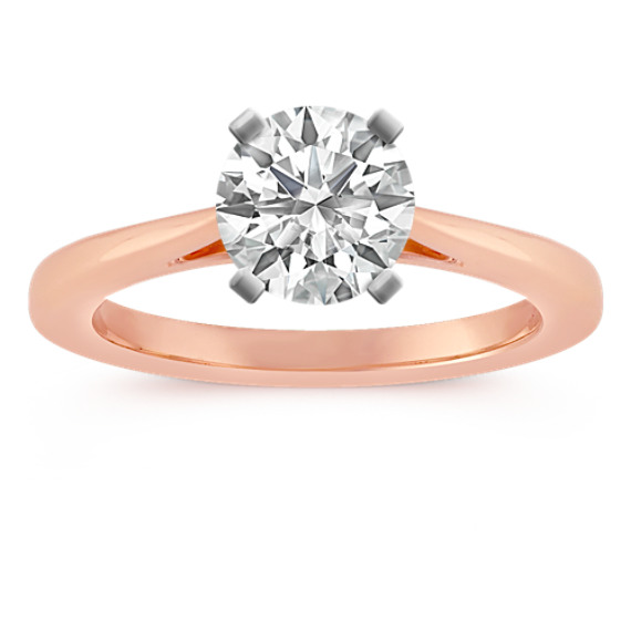 14k Rose Gold Cathedral Engagement Ring