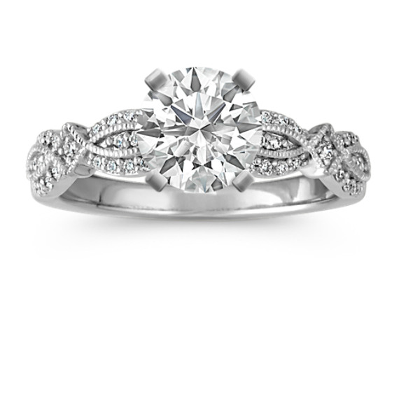 Round Diamond Vintage Engagement Ring with Milgrain Detail