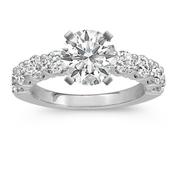 Round Diamond Classic Engagement Ring in 14k White Gold