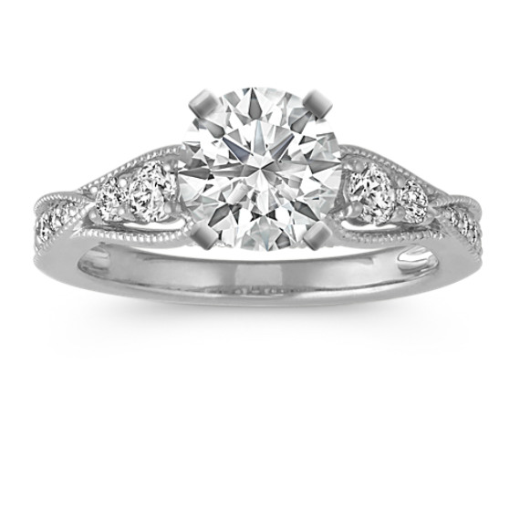 Vintage Diamond Engagement Ring with Milgrain Detail in Platinum
