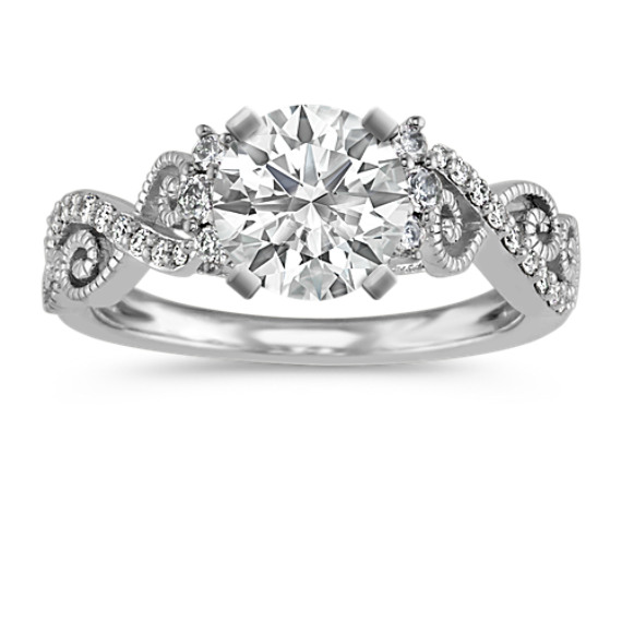 Round Diamond Vintage Swirl Engagement Ring with Milgrain Detailing