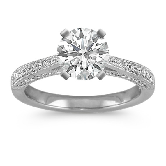 Round Diamond Vintage Cathedral Engagement Ring in Platinum