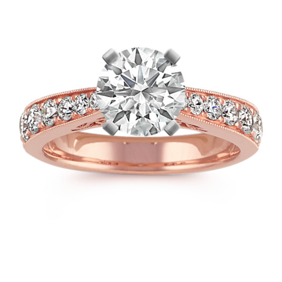 Diamond Cathedral Engagement Ring in 14k Rose Gold